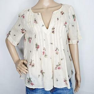 Anthropologie MaEve  Floral Pintuck Blouse Size 10